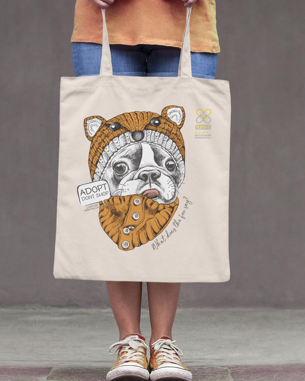 FOX FRENCHIE TOTE BAG \ ARRO - down-south-apparel-za