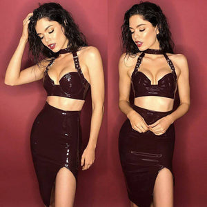 Want a look that takes people's breathe away?! Then 'Sexy Betty' is the perfect outfit for you! It's faux leather and comes in a wine color.