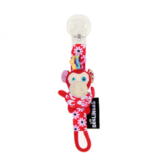 Character Pacifier Clip - Red Monkey