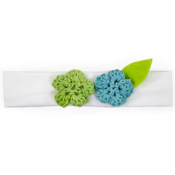 Baby Girl Headbands - White with Blue & Green Flowers