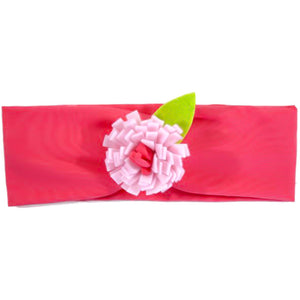 Baby Girl Headbands - Coral with Pink Flower