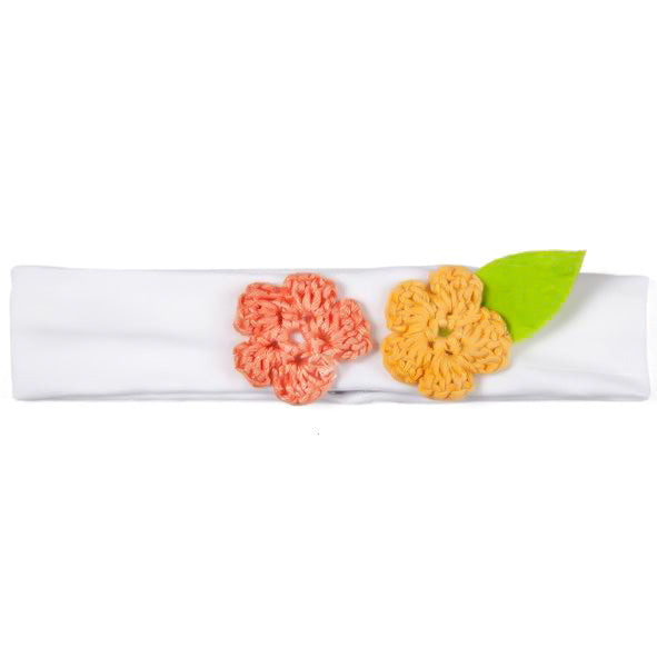 Baby Girl Headbands - White with Peach and Orange Flower