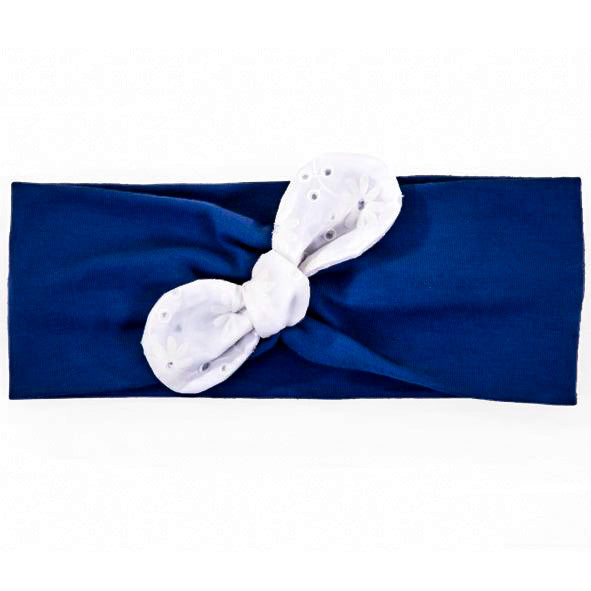Baby Girl Headbands - Navy Blue with White Ribbon