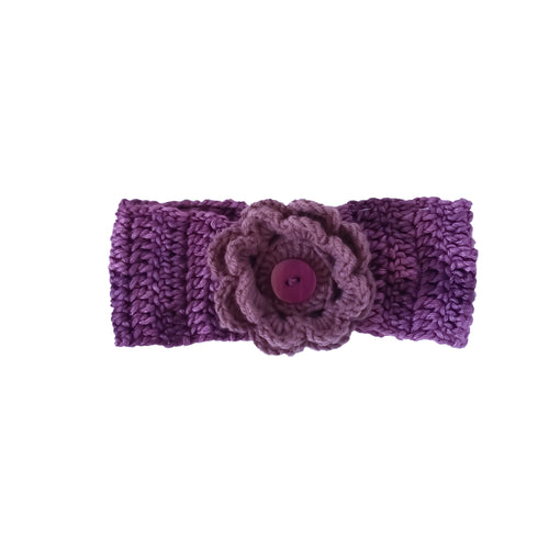 Baby Girl Crochet Headband - Purple