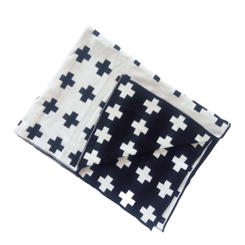 Reversible Black and White Cross Baby Blanket
