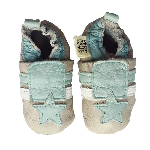 Genuine Leather Baby Shoes - Light Blue Star