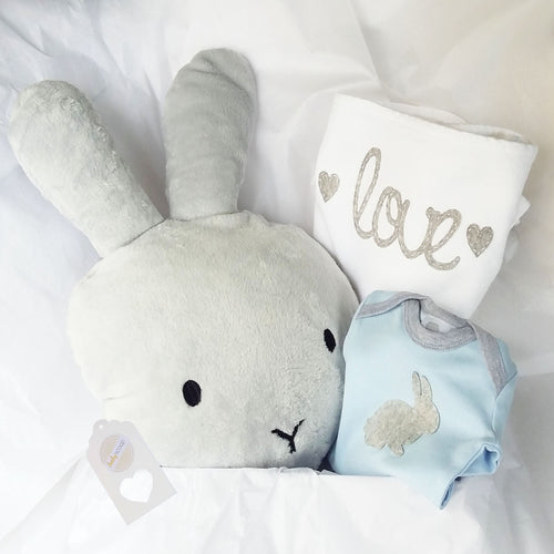 Cuddle Comfort Baby Boy Gift Set - Grey Soft Bunny Love