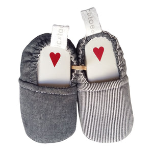 Stylish Reversible Baby Boy Shoes - Charcoal