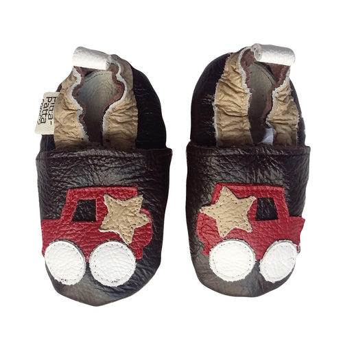 Genuine Leather Baby Boy Shoes - Red Car