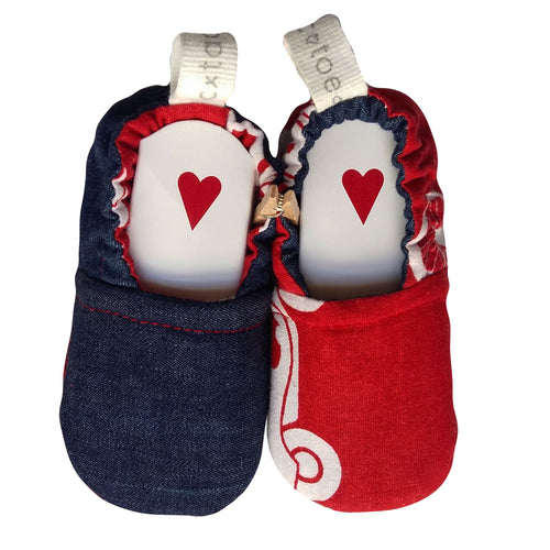 Stylish Reversible Baby Boy Shoes - Denim and Red
