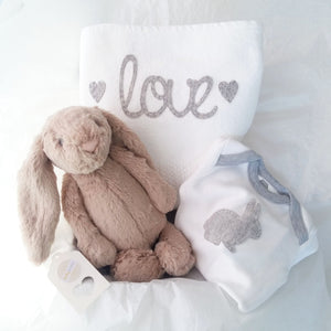 Cuddle Comfort Baby Gift Set - Beige Soft Bunny Love