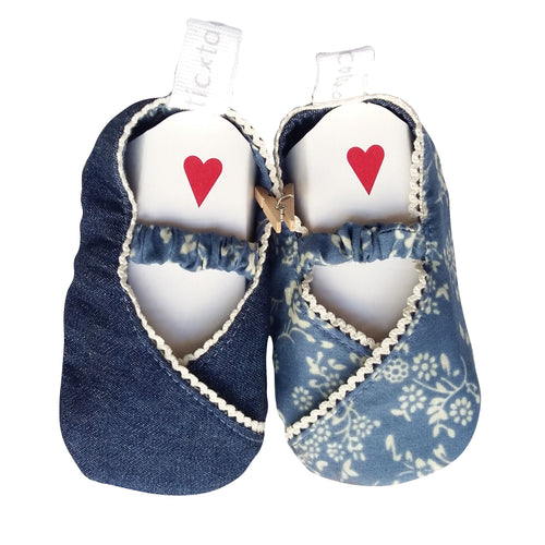 Stylish Reversible Baby Shoes - Denim & White Flowers