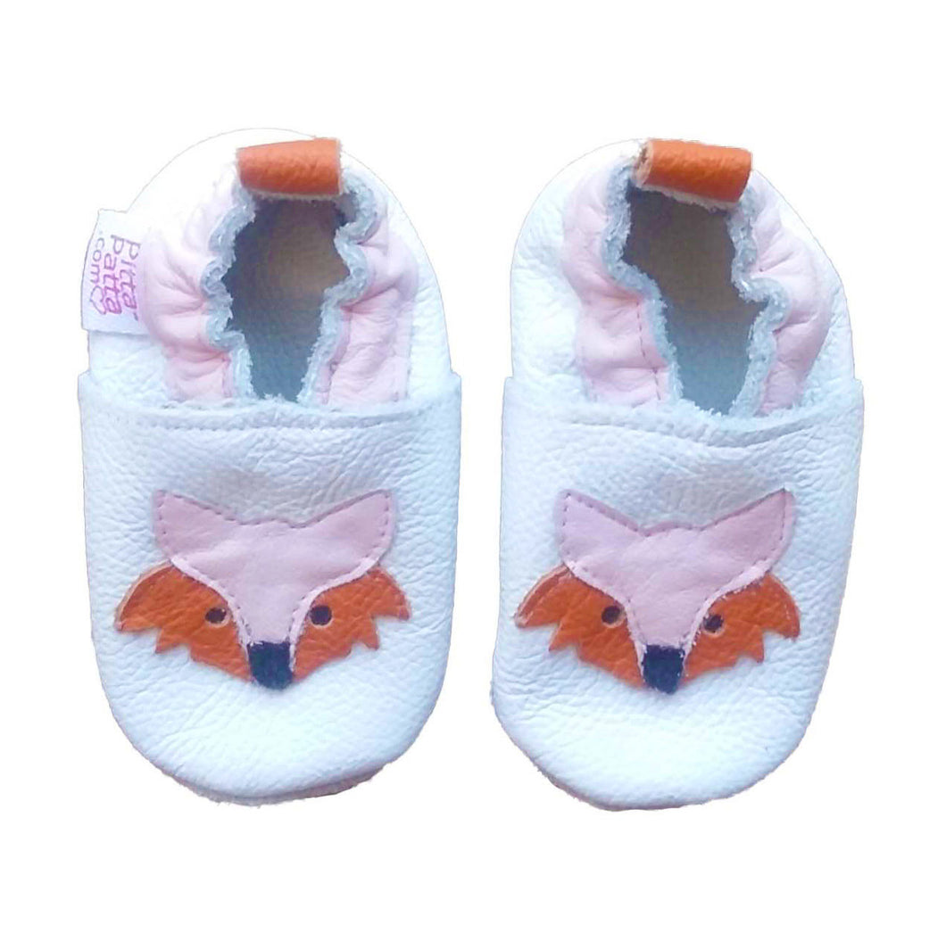 Genuine Leather Baby Girl Shoes - Fox with pink ears