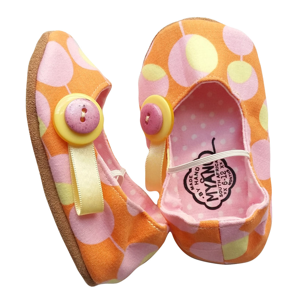 Stylish Baby Girl Shoes - Orange and Pink Polka Dots