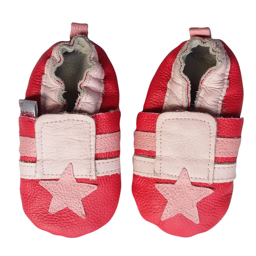 Genuine Leather Baby Girl Shoes - Pink Star