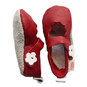 Genuine Leather Baby Girl Shoes - Red with White Flower