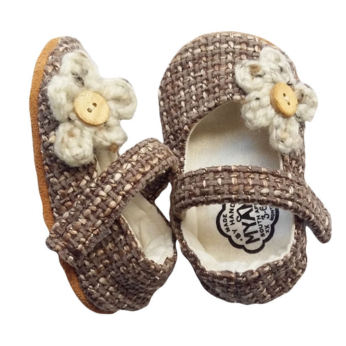 Stylish Baby Girl Shoes - Tweed with Flower