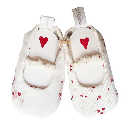 Stylish Reversible Baby Shoes - White with Red Flowers