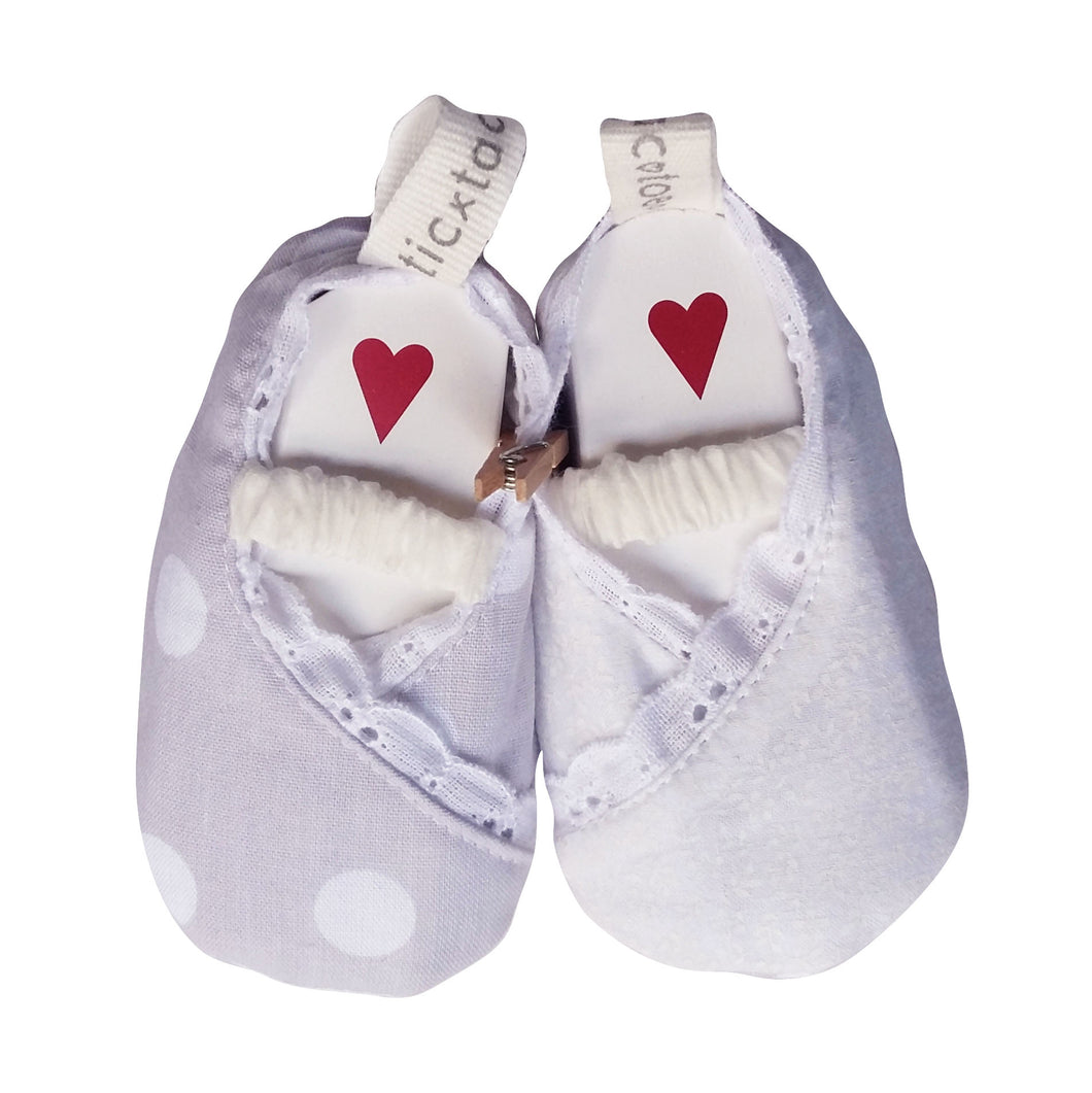 Stylish Reversible Baby Shoes - White & Grey with Polka Dots