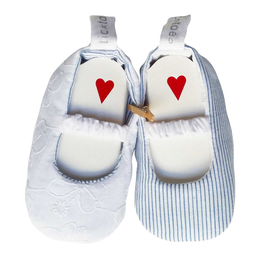 Stylish Reversible Baby Shoes - White Flowers & Blue Pinstripe