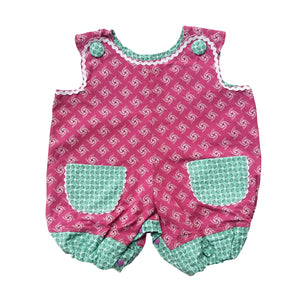 ShweShwe Baby Girl Romper - Pink with Mint Trim