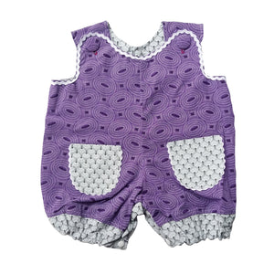 ShweShwe Baby Girl Romper - Purple with Grey Trim