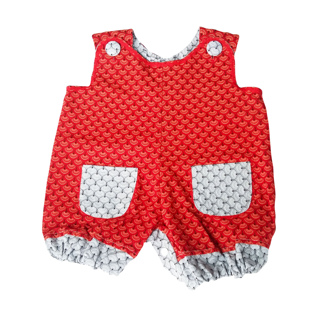 ShweShwe Baby Girl Romper - Red with Grey Trim