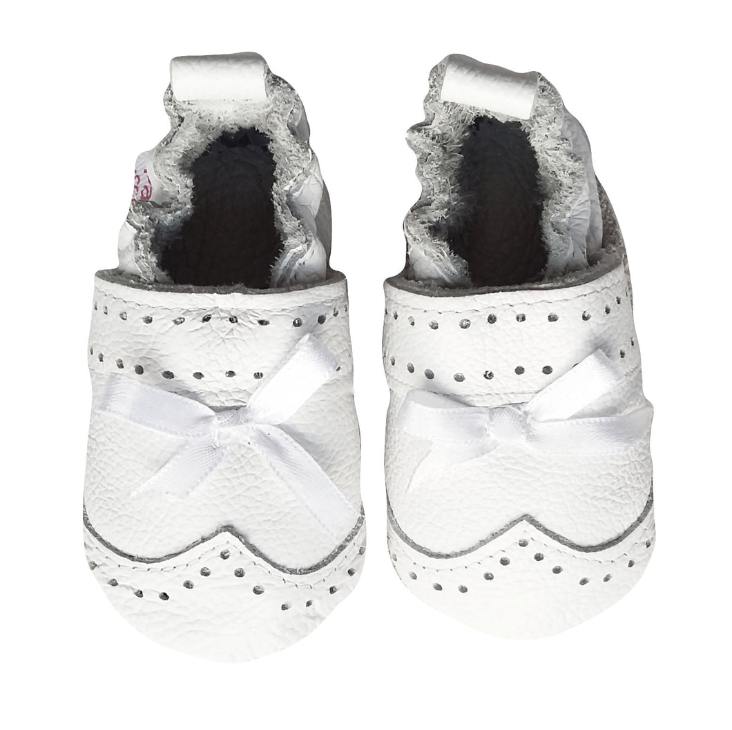 Genuine Leather Baby Girl Shoes - White Ribbon