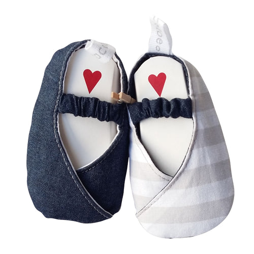 Stylish Reversible Baby Shoes - Denim with Grey & White Stripes