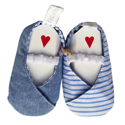 Stylish Reversible Baby Shoes - Charcoal with Blue Pinstripe