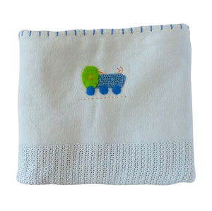 100% Woven Cotton Cellular Blankets - Blue Train