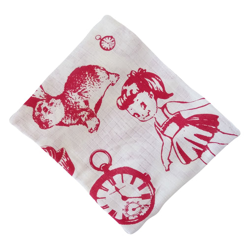 Muslin Swaddle Blankets - White and Red
