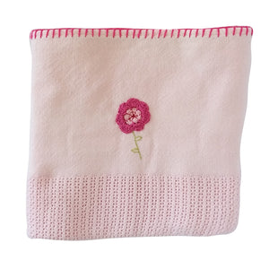 100% Woven Cotton Cellular Blankets - Pink Flower