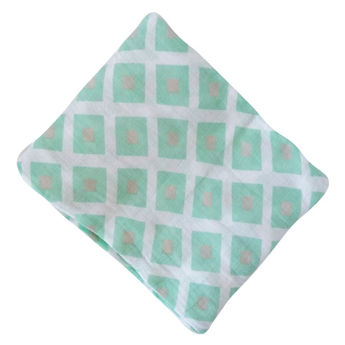 Muslin Swaddle Blankets - Mint Squares