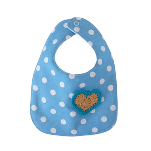 Designer Bib - Blue/White & cream heart