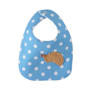 Designer Bib - Blue/White & hedgehog