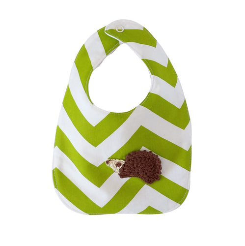 Designer Bib - Green/White & hedgehog