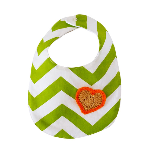 Designer Bib - Green/White & heart