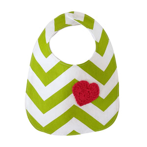 Designer Bib - Green/White & red heart