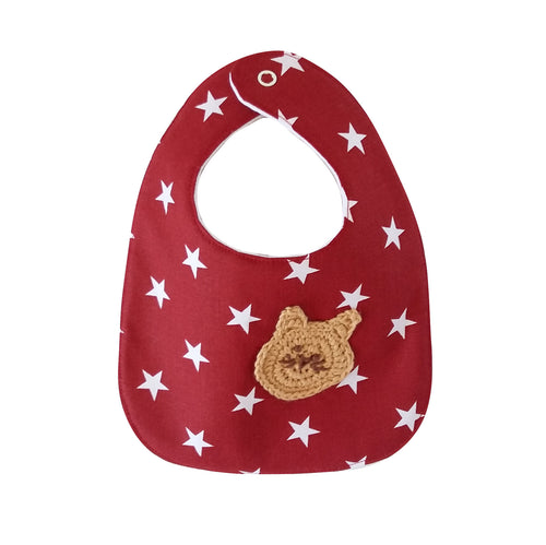 Designer Bib - Red/white & Cat