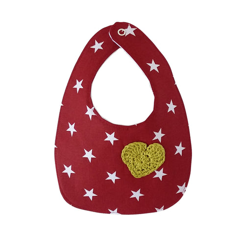 Designer Bib - Red/white & green heart