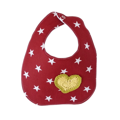 Designer Bib - Red/white & yellow/green heart