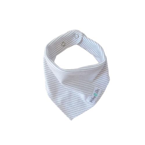 Bandana Dribble Bibs - Grey with White Stripes