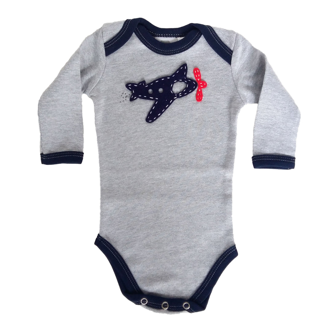 Babygrow - Grey Melange with Navy Plane