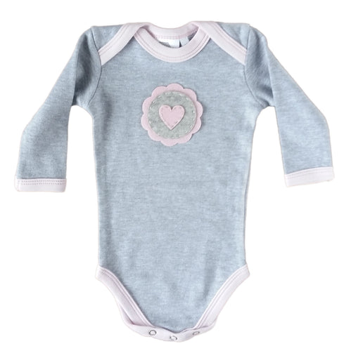Babygrow - Grey Melange with Pink Heart