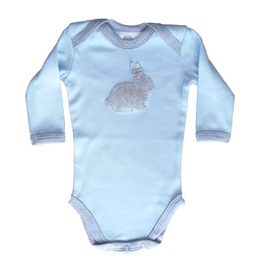 Babygrow - Baby Blue with Grey Bunny