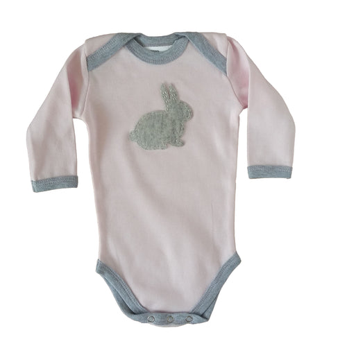 Babygrow - Baby Pink with Grey Bunny
