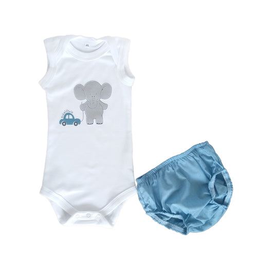 Summer Diaper Gift Set - Blue Diaper Cover & White Babygrow with Ellie