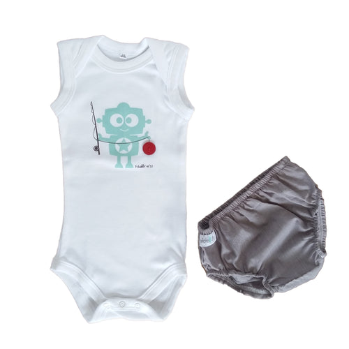 Summer Diaper Gift Set - Grey Diaper Cover & White Babygrow with Robot