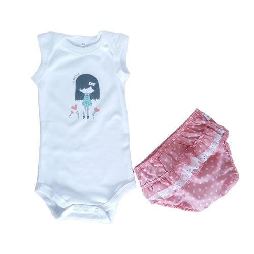 Summer Diaper Gift Set - Pink Diaper Cover & White Babygrow with Girl